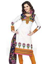 Silkbazar Printed Cotton Dress Material - White & Yellow