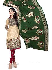 Silkbazar Printed Cotton Dress Material - Cream & Maroon