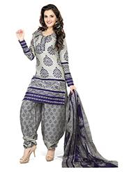 Silkbazar Printed Cotton Dress Material - Gray