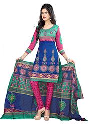 Silkbazar Printed Cotton Dress Material - Blue & Pink-SB-1233