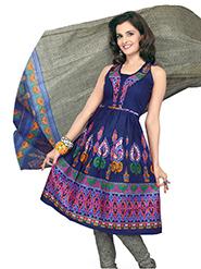 Silkbazar Printed Cotton Dress Material - Navy Blue & Grey