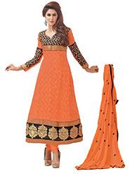 Silkbazar Embroidered Pure Georgette A-Line Semi-Stitched Dress Material - Orange