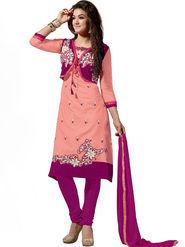 Thankar Embroidered Chanderi Cotton Semi-Stitched Suit -Tas315-6312