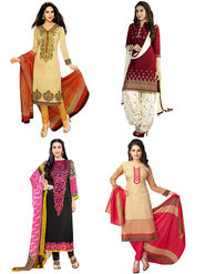 Combo of 4 Thankar Printed Polycotton Unstitched Dress Material
