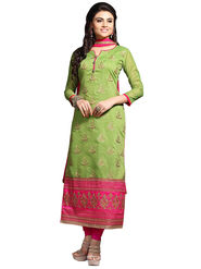 Triveni's Chanderi Cotton Embroidered Dress Material -TSMDESK1113