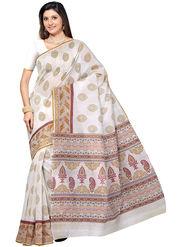 Triveni Printed Cotton Off White Saree -tsb59