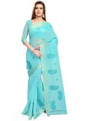 Triveni's Blended Cotton Embroidered Saree -TSMRCCPI4002