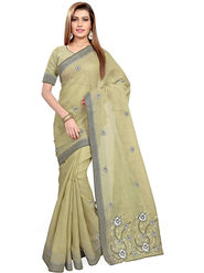 Triveni's Blended Cotton Embroidered Saree -TSMRCCPI4014