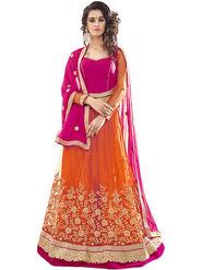 Triveni Embroidered Net & Satin Orange Lehenga Choli-TSN82022