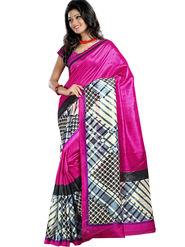 Triveni Art Silk Printed Saree - Magenta - TSN51007A