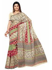 Triveni sarees Cotton Printed Saree - Beige - TSMRCCAN1031