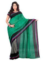 Triveni sarees Faux Georgette Printed Saree - Green - TSSV15A