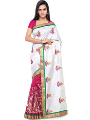 Nanda Silk Mills Embroidered Art Silk White & Magenta Saree -am34