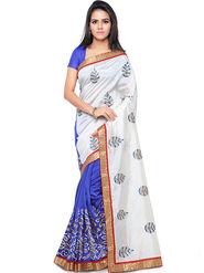 Nanda Silk Mills Embroidered Art Silk White & Blue Saree -am36