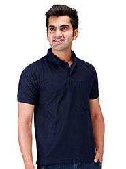 Velgo Club Plain Polo Neck Half Sleeves T-Shirt - Navy