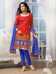 Viva N Diva Chanderi Cotton Embroidered Dress Material - Red
