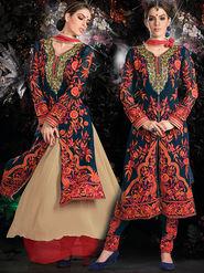 Viva N Diva Embroidered 2 in 1 Lehenga cum Salwar Suit - Navy Blue - Aarvi-405