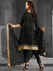 Viva N Diva Chanderi Cotton Embroidered Dress Material - Black