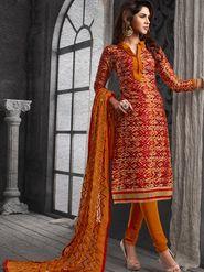 Viva N Diva Chanderi Cotton Embroidered Dress Material - Maroon
