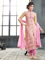 Viva N Diva Net Embroidery Semi-Stitched Salwar Suit - Light Pink
