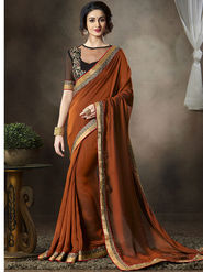 Nanda Silk Mills Latest Ethnic Pure Satin Georgette Brown Color Saree Designer Party Wear Saree_Vr-1909