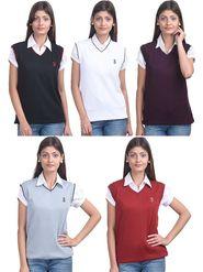 Pack of 5 Eprilla Spun Cotton Plain Sleeveless Sweaters -eprl28