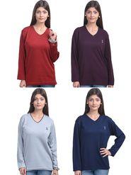 Pack of 4 Eprilla Spun Cotton Plain Full Sleeves Sweaters -eprl58