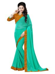 Khushali Fashion Georgette Saree(Rama Green)_YNBJR20375
