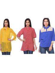 Combo of 3 Lavennder Georgette Cotton & Crepe Solid Ladies Shirts-la02