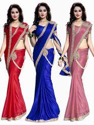 Combo of 3 Bhuwal Fashion Plain Lycra Designer Saree -bhl24