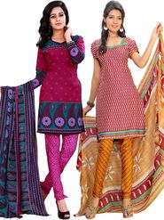 Pack of 2 Florence Printed American Crepe Unstitched Dress Material -fs03