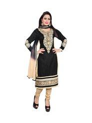 Khushali Fashion Cotton Embroidered Dress Material - Black - MN06