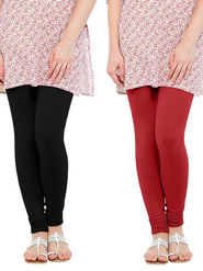 Pack of 2 Oh Fish Solid Cotton Stretchable Leggings -zwe52