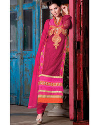 Viva N Diva Semi Bemberg Georgette Embroidered Dress Material - Pink - Riha-7018