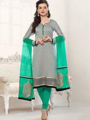 Viva N Diva Banarasi Chanderi Embroidered Dress Material - Grey - Color-Blossom-1007