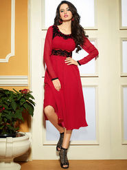 Viva N Diva Pure Babamer Georgette Embroidered Kurti - Red