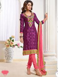 Viva N Diva Pure Jacquard Embroidered Dress Material - Magenta