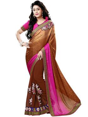 Nanda Silk Mills Brown Georgette Embroidered Saree With Blouse Piece_Gitanjli-4408