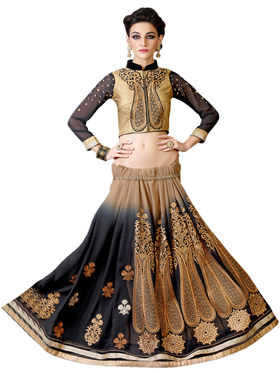 Black Georgette Embroidered Saree with Blouse Piece_AY-SR-NAD-6018