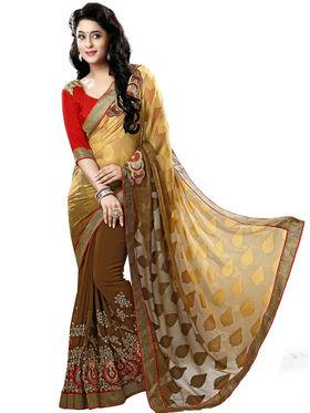 Nanda Silk Mills Brown Georgette Embroidered Saree With Blouse Piece_Gitanjli-4404
