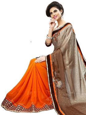 Nanda Silk Mills Multicolor Georgette Embroidered Saree With Blouse Piece_Enigma-4810