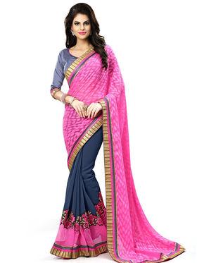 Nanda Silk Mills Multicolor Georgette Embroidered Saree With Blouse Piece_Enigma-4809