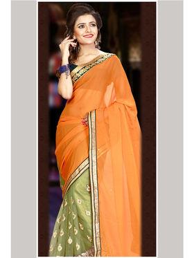 Orange and Green Chiffon Net Embroidered Saree with Dupioni Blouse Piece_JJ-SR-ADY-8016