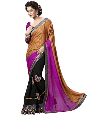 Nanda Silk Mills Purple Georgette Embroidered Saree with Blouse_Adiction-4610