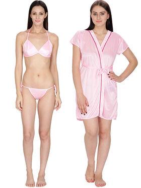 Set of 2 Klamotten Solid Satin Bikini Set and Robe-04L-11L