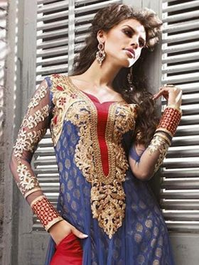 Adah Fashions Embroidered Net Semi-Stitched Suit 100-9005