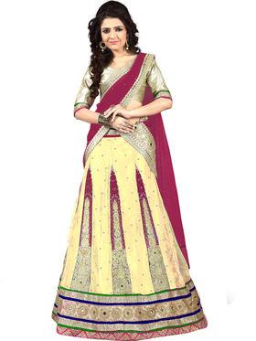 Viva N Diva Embroidered Semi Stitched Net Lehenga -10528-Ami