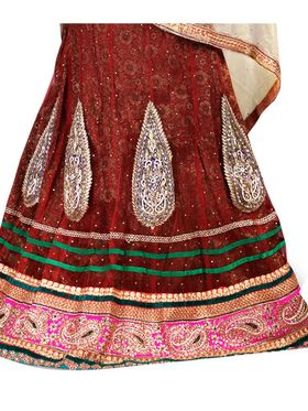 Viva N Diva Embroidered Semi Stitched Net Lehenga -10538-Ami