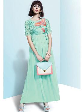 Viva N Diva Embroidered Faux Georgette Semi Stitched Salwar Suit -11085-Blush-06