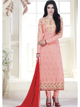 Viva N Diva Embroidered Faux Georgette Semi Stitched Salwar Suit -11106-Kalika